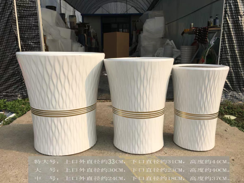 陶瓷花盆-白色树皮纹